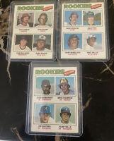1977 Topps Rookies #492 OF Armas #493 P Krukow #494 INF Wills (3) RC Lot