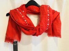 NWT~$38 Abercrombie & Fitch~Large Floral Embroidered Scarf Wrap~100% Cotton~Red