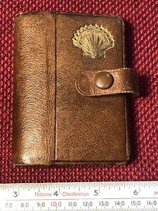 Vintage SHELL MOTOR SPIRIT Advertising Leather CARD CASE Brown 1920s Oil D4