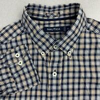 Nautica Button Up Shirt Mens M Blue Gray Tan Long Sleeve Flannel Check Casuals