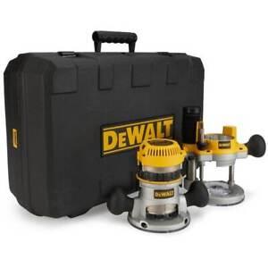DeWALT DW618PK 2-1/4 HP Fixed Base Plunge Router Tool Combo Kit