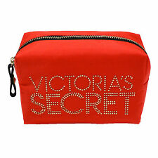 Victoria's Secret Red Bling Small Cosmetic Make-up Bag Leopard Lining