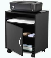 FITUEYES Printer Stand with Adjustable Storage,Mobile Wood Work Cart On Wheels