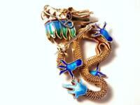 Vintage Chinese Export Silver Vermeil Cloisonne Dragon Pin