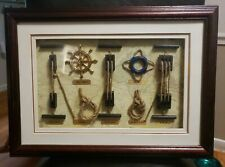 Shadow Box Nautical Sailor Rope Knots in French Hanging Picture Frame *EUC*