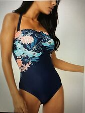NEW LADIES GEORGE SWIMSUIT UK 14, Navy Crane Flower Control Bandeau Swim costume