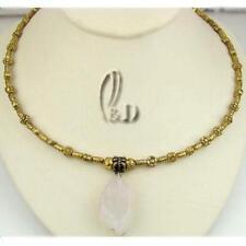 Rose Quartz Stone Choker Fashion Necklaces & Pendants