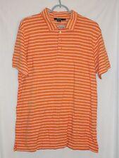 J. Crew Orange White striped Polo shirt 100% pima cotton Size L