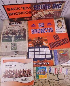 Vtg Denver Broncos Football Newspaper Cheerleader Poster Calendar Mixed Lot NFL