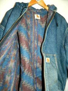 1990s Vintage Hooded Carhartt Blanket Lined Denim Work Jacket Nineties XL