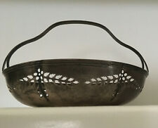 Reed & Barton Sterling Silver Basket Bowl - Pierced Openwork w Curved Handle