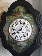 oeil de boeuf superbe décor peint,TBE, horloge,pendule,mouvement,mécanisme