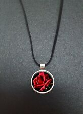 """Rose Pendant On a 18"""" Black Cord Necklace Ideal Birthday Gift N76"""