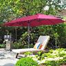 15Ft Large Size Patio Umbrella Garden Yard Market Sunshade Outdoor  Wine red