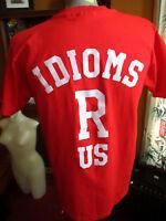 LARGE True Vtg 90s HANES RED COLLEGE JOKE GRAPHIC T-shirt USA