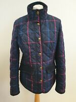 Q755 WOMENS JOULES BLUE RED CHECK PUFFER QUILTED JACKET UK 12 US 8