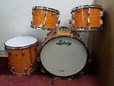 """Vintage Ludwig Mod Orange 4 Piece Drum Kit 12"""" 13"""" 16"""" 22"""" Keystone Badge"""