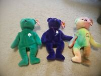 Original Ty Extremely Rare Beanie Babys Peace,Erin,Princess Bears. New w/Tags