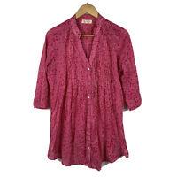 Lara Ethnics Womens Blouse Size S/M Pink 3/4 Sleeve Boho France Natural