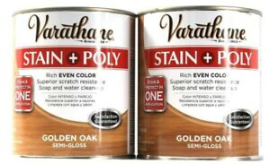 2 Cans Varathane 32 Oz Stain and Protect Poly Rich Even Golden Oak Semi-Gloss