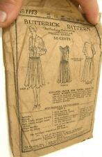 ANTIQUE ART DECO BUTTERICK SEWING PATTERN 1920'S FLAPPER DRESS FROCK SMALL