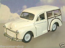 SAICO 1/26 DIECAST MORRIS MINOR TRAVELLER WITH PULL BACK MOTOR IN WHITE OVER 5""