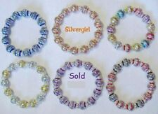 Silver Carved Color Aluminum Beaded Bracelet 5 colors choices
