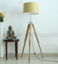 RETRO STYLE TRIPOD WOODEN FLOOR LAMP/SHADE STAND- VINTAGE HOME DECOR