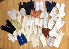 Vintage Glove Lot 28 Pairs Many Colors Kid Leather Cotton Fabric Gloves