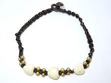 Ladies White Stone Heart Bead Ankle Bracelet Foot Anklet Hippy Boho Handmade