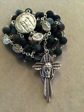 Authentic Black Agate Beads Rosary With St Michael/Guardian Angel Pater Beads
