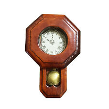 Dollhouse Wooden Octagonal Wall Clock Home Decoration Miniature Accessories