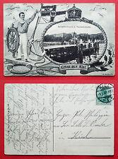 Patriotika AK KIEL 1909 Reventlou Brücke und Marineakademie mit Matrose  ( 17234