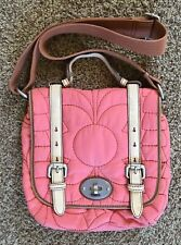 Fossil Key Per Dusty Rose Quilted Nylon Leather Trim Zip Shoulder Bag Crossbody