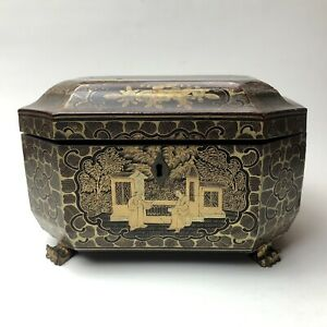 Chinese Lacquer Chinoiserie Sewing Box Lacquerware 18th 19th Century