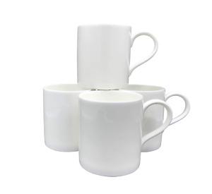 Set of 4 Plain White Bone China Good Size Mugs