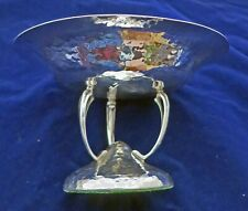 More details for scarce sterling silver compote tazza arts crafts art nouveau style 1915 hammered