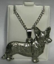 Welsh Corgi Cardigan Dog Harris Fine Pewter Pendant w Chain Necklace Usa Made