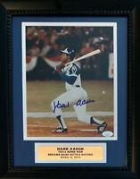 Hank Aaron Autographed Braves 715 Home Run Baseball 8x10 Framed Photo JSA COA 5