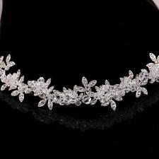 Fashion Women Bridal Clear Rhinestone Beads Crystal Flower Headpiece Headband