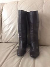 BROWN LEATHER KNEE HIGH BOOTS SIZE 5 MED HEEL