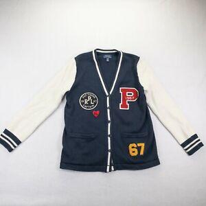 Polo Ralph Lauren Boys Navy Blue White Long Sleeve V Neck Sweater Sz XL 16 #123