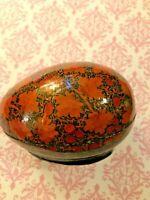 Vintage Papier-Mache Decorative Egg Trinket Box Lacquered Orange Black Dar & Son