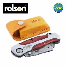 Rolson Folding Hard Wood Finish Utility Knife Handle with Leather Type Pouch