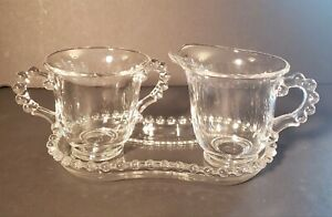 Vintage Candlewick Creamer Sugar Bowl and Tray