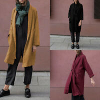 ZANZEA Womens Long Sleeve Cardigan Ladies Cotton Trench Long Coats Duster Jacket