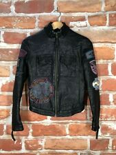 Ed Hardy Christian Audigier XS Platinum Tattoo Leather Biker Motorcycle Jacket