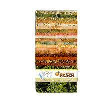 Island Batik Sweet Georgia Peach Green Rust Brown Batiks Jelly Roll Strips Pack