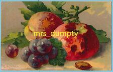 A/S Catherine KLEIN Still Life Apples & Grapes ~ Ser. 3164 CHROMO Postcard ~ EX