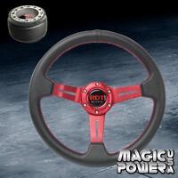 330mm Red Deep Dish 6-Bolt Steering Wheel & Hub Adapter For Scion xA xB TC xD